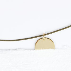 Unisex yellow gold round plate pendant _ customized engraved gift _ maschio gioielli mlano