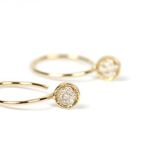 Small open hoops earrings in gold and diamonds pavé _ maschio gioielli milano