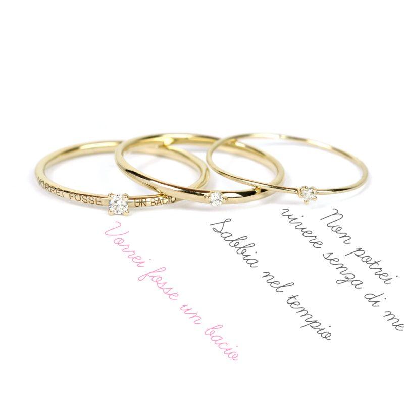 Contemporay solitaire rings in gold and brilliant cut diamond _ maschio gioielli milano