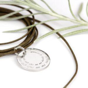 Ciondolo tondo unisex in argento _ regalo da personalizzare con incisione _ maschio gioielli mlano