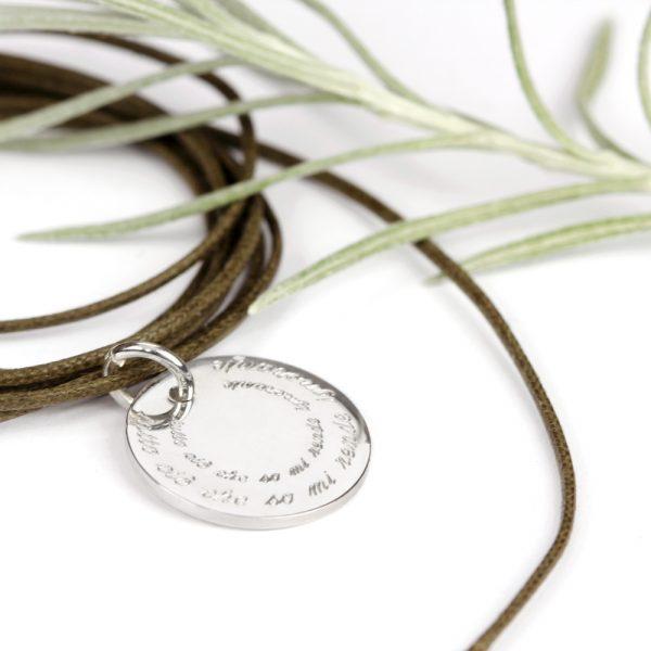Silver unisex round plate pendant _ customized engraved gift _ maschio gioielli mlano (8)