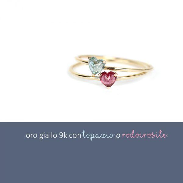 Set di anelli sottili in oro con pietra taglio cuore _maschio gioielli milano