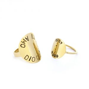 Yellow gold rings with  round plate to be customized _ maschio gioielli milano