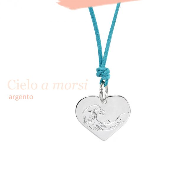 Silver heart pendant with customized engraving _ Hokusai wave _ maschio gioielli milano