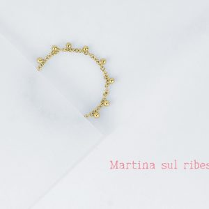 Gold thin chain stacking rings with mini gold dots _ maschio gioielli milano