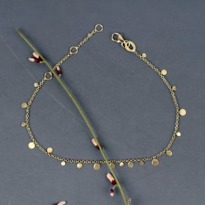 Thin gold chain bracelet with mini round pendants _ maschio gioielli milano